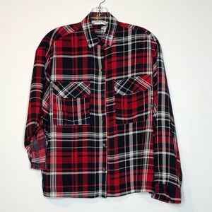Lush Womens S Plaid Button Front Blouse NEW